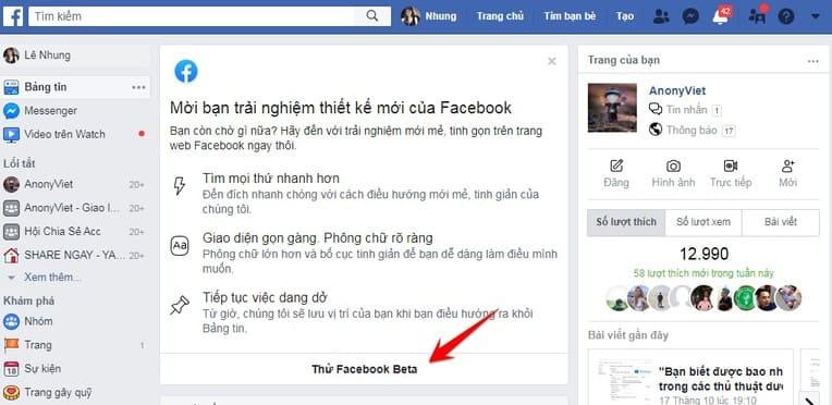 Cách dùng thử Facebook Beta