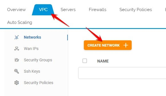 chọn VPC CREATE NETWORK