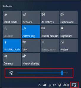 Giảm độ sáng màn hình tăng thời gian pin windows
