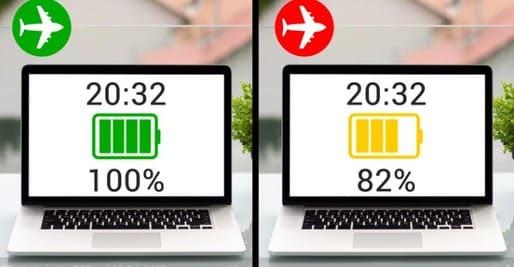 Pin Laptop sạc nhanh hơn khi ở chế độ máy bay