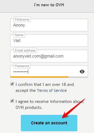 đăng ký tài khoản ở OVH