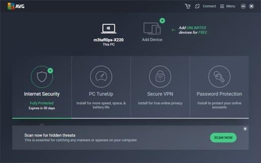 Các tính năng của AVG Internet Security 2020