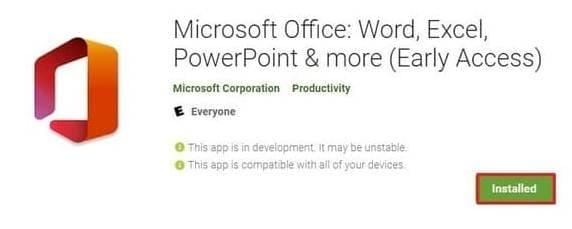 cài Microsoft Office mới trên Android