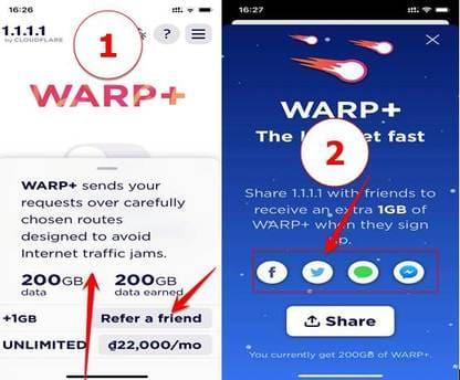 tăng dung lượng gói warp+ 1.1.1.1