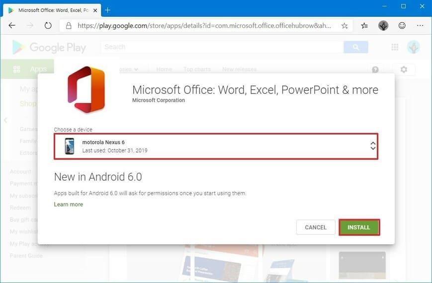chọn thiết bị cài đặt Microsoft Office mới trên Android