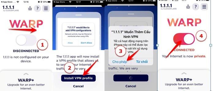 xem các Web bị chặn bằng app 1.1.1.1