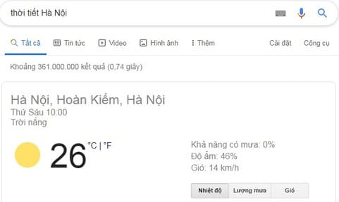tra thời tiết google