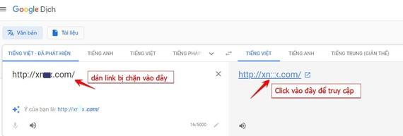 Dùng Google Translate để truy cập Website bị chặn