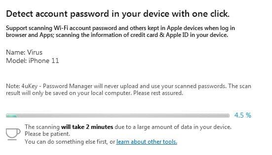 Quá trình quét Password 4ukey password manager full key