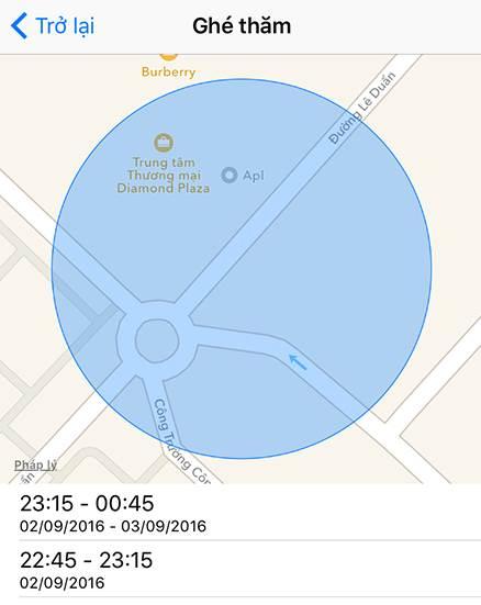 hiển thị vị trí đã đi qua trên bản đồ