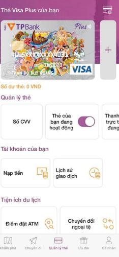 giao diện quản lý thẻ