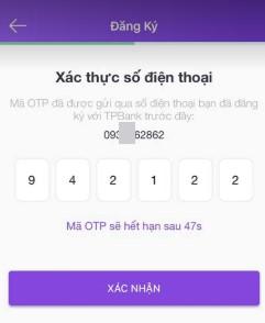 xác thực số điện thoại tpbank mygo