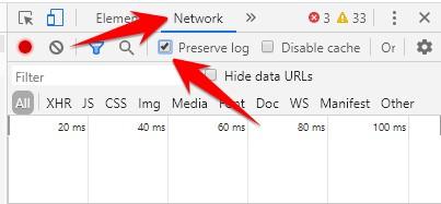 tab network chrome ghi log