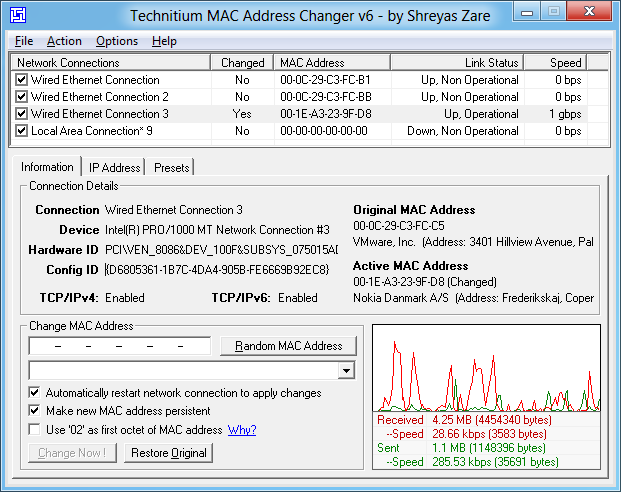 dùng tmac để fake mac address trên windows