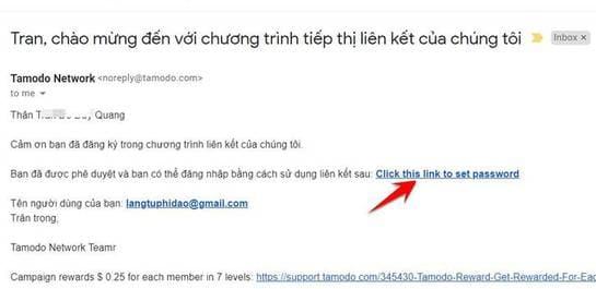 email xác nhận kiếm tiền Tamodo