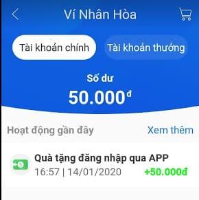 tặng 50k app Nhân hòa