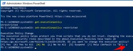 Reset lại Execution policy của PowerShell