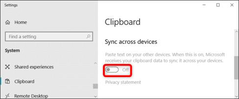 tắt đồng bộ clipboard windows 10