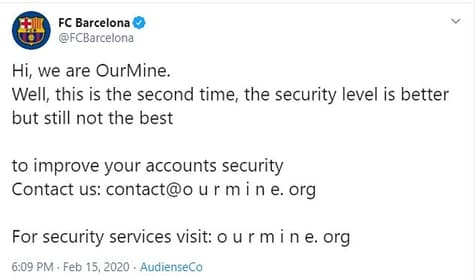 Tài khoản Twitter của Olympics, FC Barcelona bị hack