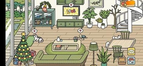 mẫu phòng khách đẹp màu xanh lá Adorable Home