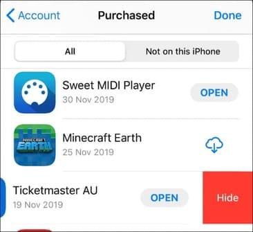 Ẩn lịch sử tải xuống của App Store