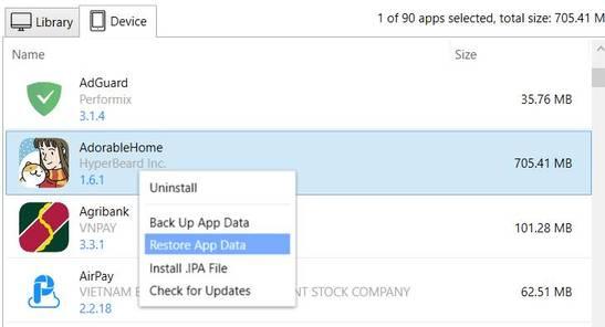 restore app data