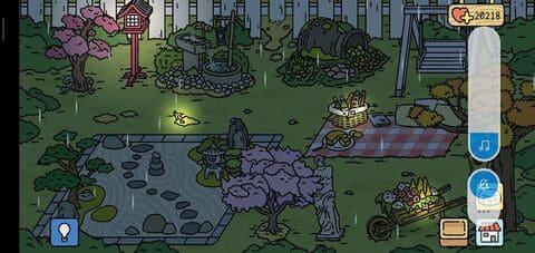 Vườn trong game adorable vào ban đêm