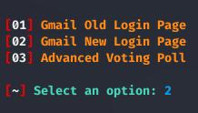 chọn giao diện phishing