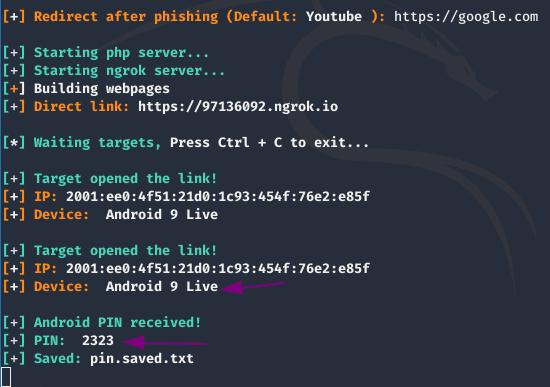 thông tin phishing được lockphish lưu lại