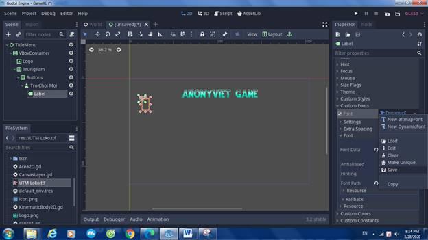 [Lập Trình Game] Bài 9: Tạo MENU cho Game khi lập trình bằng Godot 83