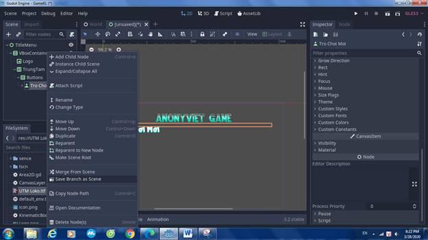 [Lập Trình Game] Bài 9: Tạo MENU cho Game khi lập trình bằng Godot 90