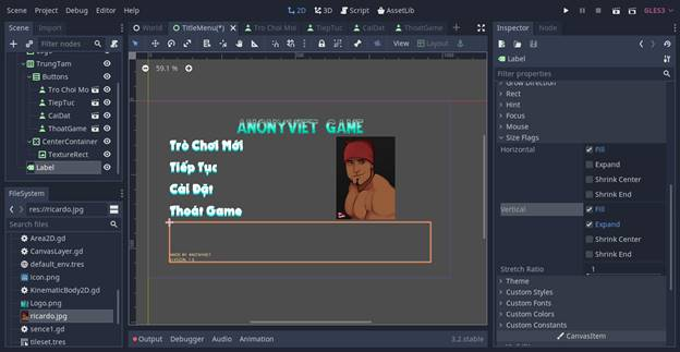 [Lập Trình Game] Bài 9: Tạo MENU cho Game khi lập trình bằng Godot 106