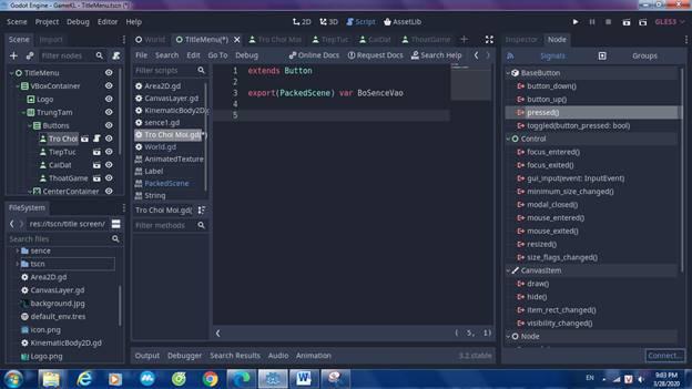 [Lập Trình Game] Bài 9: Tạo MENU cho Game khi lập trình bằng Godot 113