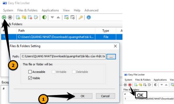 chọn file cần khóa để bảo vệ