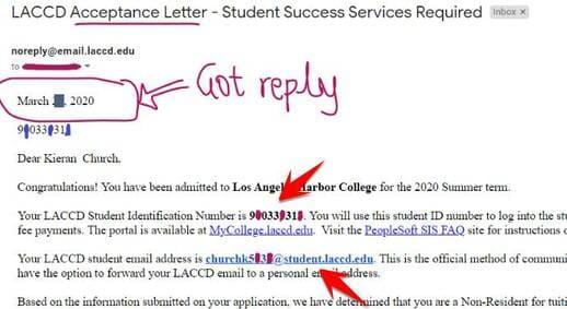 mail edu và student ID Los Angeles Harbor College