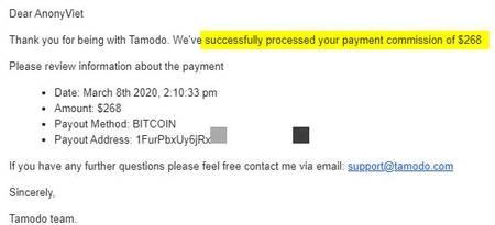 Hướng dẫn rút tiền từ Tamodo về ví Bitcoin ở Blockchain 6