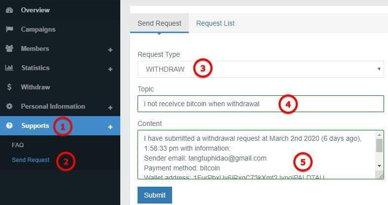 Hướng dẫn rút tiền từ Tamodo về ví Bitcoin ở Blockchain 5