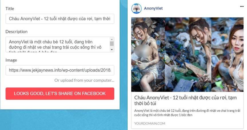 tạo fake news fake ảnh và tiêu đề website đăng facebook