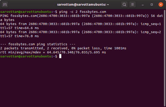 dùng lệnh ping ubuntu