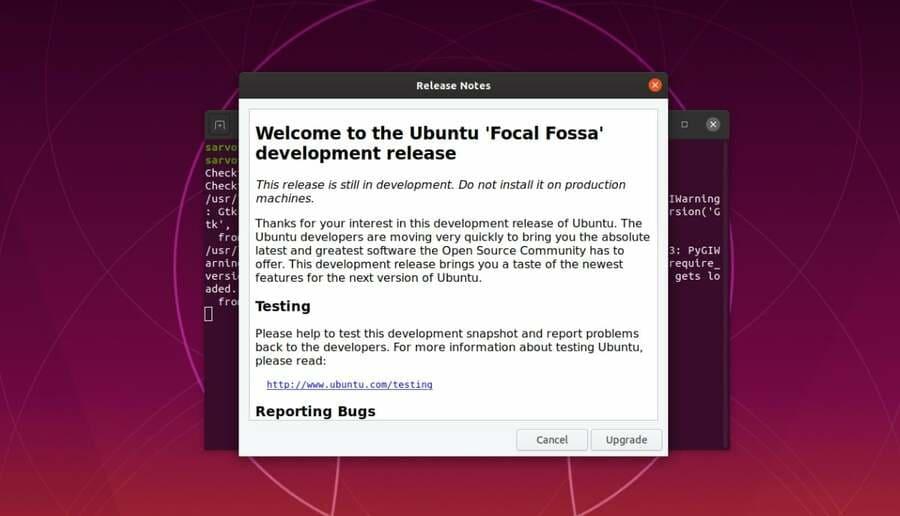 Upgrade để cài đặt phiên bản Ubuntu 20.04