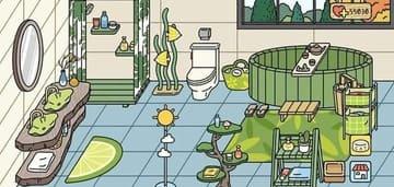 phòng tắm màu xanh trong game adorable home