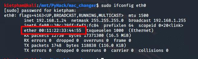 Kiểm tra MAC mà người dùng đã đổi xem đúng không