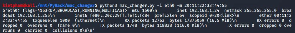 [PyHack] Bài 2: Kiểm tra MAC mà người dùng đã đổi xem đúng không 46