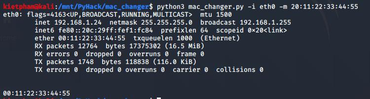 [PyHack] Bài 2: Kiểm tra MAC mà người dùng đã đổi xem đúng không 50