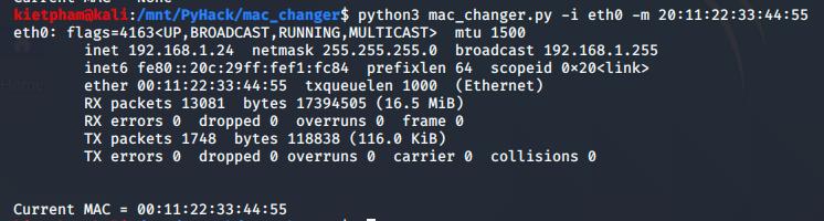 [PyHack] Bài 2: Kiểm tra MAC mà người dùng đã đổi xem đúng không 54