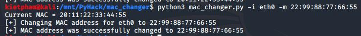 [PyHack] Bài 2: Kiểm tra MAC mà người dùng đã đổi xem đúng không 55