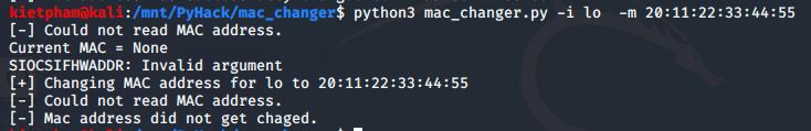 [PyHack] Bài 2: Kiểm tra MAC mà người dùng đã đổi xem đúng không 56