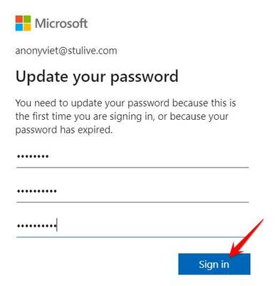update your password microsoft