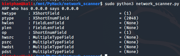 [PyHack] Bài 3: Network Scanner - Quét thông tin mạng 131