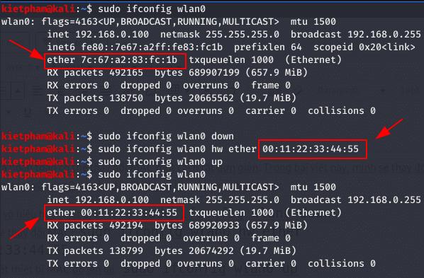 xem địa chỉ mac trên linux